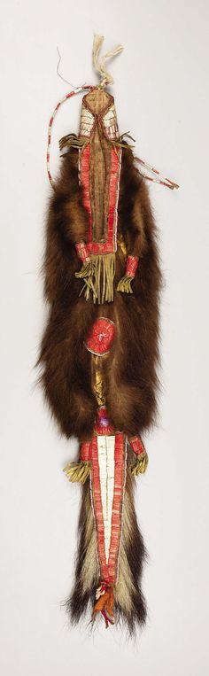 A SIOUX QUILLED SKUNKSKIN BAG. . c. 1890. ... American Indian Art   Lot #77149   Heritage Auctions