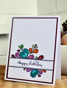 Inky Fingers: Papertrey Ink Birthday cards for Clean and Simple card class - one stamp used two ways