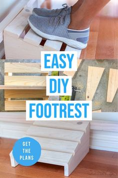 Easy DIY Footrest under desk to build using scrap wood. Easy beginner woodworking project #woodworking #woodworkingproject