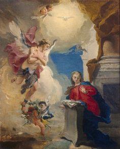 *Rococo Revisited - Annunciation - Giovanni Battista Tiepolo Between. Catholic Art, Religious Art, Jesus E Maria, Italian Paintings, Oil Canvas, Hermitage Museum, Art Database, Italian Art, Sacred Art