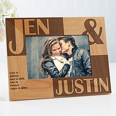 Personalized Wood Picture Frames - Romantic Because of You Design - Romantic Gifts Personalised Gifts Unique, Personalized Picture Frames, Personalised Frames, Personalized Wedding, Unique Gifts, Personalized Items, Christmas Picture Frames, Collage Picture Frames, Christmas Pictures