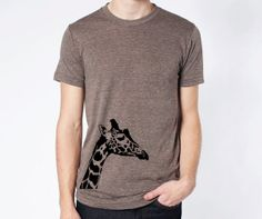 Giraffe Hipster Animal Tshirt Cute American Apparel Cool Soft Fitted Hip Unisex Tri Blend Short Sleeve Track Tee on Etsy, $21.13 AUD