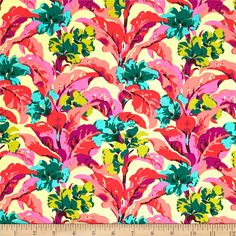 Amy Butler Bright Heart Tropi Canna Peach from @fabricdotcom  Designed by Amy Butler for Free Spirit, this cotton print is perfect for quilting, apparel and home decor accents. Colors include yellow, coral, pink, teal, purple and lime green.