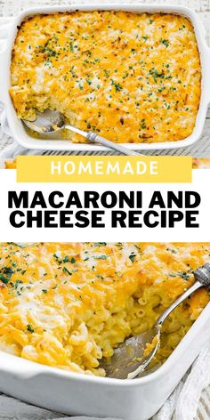 Nothing more comforting than a delicious bowl of homemade macaroni and cheese.  This creamy baked dish is jam-packed with 3 different kinds of cheese in a casserole dish and is nothing short of amazing.  You can also make this recipe in an instant pot of right on the stovetop.  #macaroniandcheese #cheese #comfortfoods #dinner Bean Recipes, Cheese Recipes, Side Dish Recipes, Easy Dinner Recipes, Easy Meals, Cooking Recipes, Pasta Recipes, Rice Recipes, Delicious Recipes