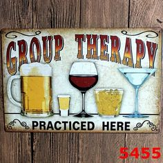 """Vintage Metal Sign """"GROUP THERAPY"""" Pub Wall Decor"""