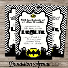 Superior Batman Baby Shower Invitations   A New Alternative To Patterned Materials  And Décor Are Strong Colors.