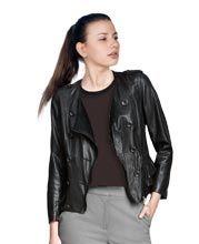 Playful Ruffle Detailed Leather Jacket