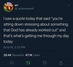 Amen 🙏 That's what I am doing right now 😌😌knowing that God is in control Real Talk Quotes, Fact Quotes, Mood Quotes, Bible Verses Quotes, Jesus Quotes, Scriptures, Twitter Quotes, Tweet Quotes, Affirmations