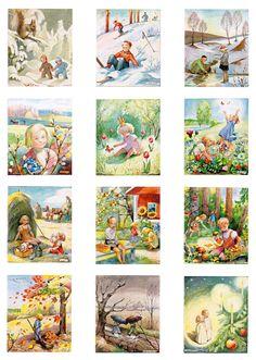 12 st Månadsplanscher i Ram Elsa Beskow, Montessori Classroom, Forest School, Circle Time, Crafts For Kids To Make, Fabric Wallpaper, Scrapbooking Layouts, Vintage Children, Early Childhood