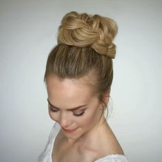 French Braid High Bun  A new take on the top knot  Full video tutorial linked in my bio! #missysueblog