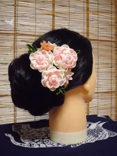 Spring flower kanzashi hair comb - Reserved for Ila