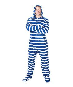 Take a look at this Blue Gone Sailing Footie Pajamas - Adult on zulily today!