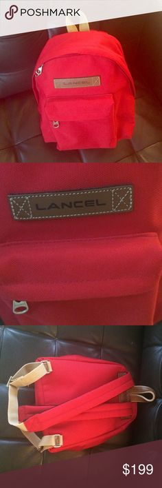 Lancel Red Backpack Weekender Coated Canvas Amazing quality , new no tags. 10% goes to charity Lancel Bags Backpacks