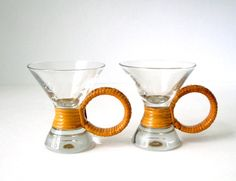 Glass Cups with Rattan Ring Wrap Handles Hourglass by FultonLane