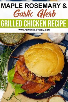 This sweet and savoury Maple Rosemary and Garlic Herb Grilled Chicken is a delightful addition to your grilling menu with a simple and flavourful marinade versatile to pair with any sides or to have as a chicken burger! Chicken Appetizers, Grilled Chicken Recipes, Rosemary Herb, Grilling, Herbs, Lunch, Dinner, Ethnic Recipes, Food