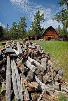 Wood Pile & Barn