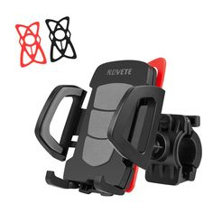 NOVETE Universal Bike Phone Mount, Bicycle and Motorcycle Mobile Phone Holder, for Android and iOS Phones, 2 Silicone Pads, Rotation Smartphone Gps, Smartphone Holder, Ios Phone, Phone Case, Support Telephone, Phone Mount, Hiking Equipment, Gps Navigation, Portable