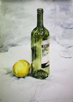 정물수채화(양주병, 레몬, 와인 잔) 그리기 : 네이버 블로그 Still Life Sketch, Still Life Drawing, Painting Still Life, Food Painting, Bottle Painting, Watercolor Artists, Watercolor Paintings, Watercolour, Bottle Drawing