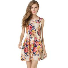 Cheap dress for, Buy Quality dress for women directly from China summer dress Suppliers: summer dress 2017 print chiffon dress for women Elegant floral dress short mini female bohemian flower tank casual robe femme Cheap Summer Dresses, Beach Dresses, Summer Dresses For Women, Dress Summer, Dress Beach, Summer Skirts, Beach Tunic, Summer Outfits, Vestido Chiffon Floral