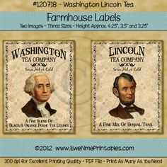 Printable Farmhouse Labels - Washington Lincoln Tea