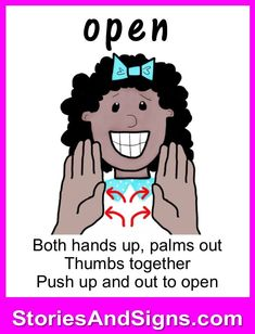 Learn to sign the word. C's books are fun stories for kids that… Sign Language Basics, Simple Sign Language, Sign Language Chart, Sign Language Phrases, Sign Language Interpreter, British Sign Language, Sign Language Alphabet, Learn Sign Language, Language Lessons