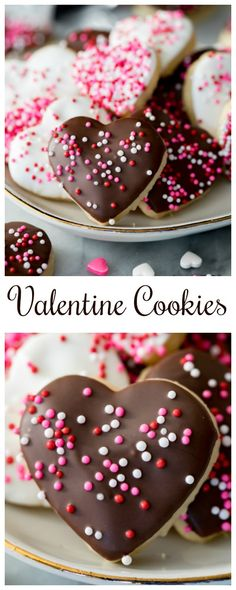 Valentine Cookies are made with a simple sugar cookie base and are dipped in white and dark chocolate and decorated with sprinkles! These are the perfect Valentine's Day dessert!