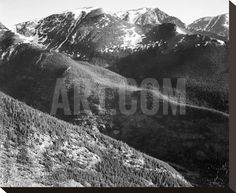 Hills and mountains, in Rocky Mountain National Park, Colorado, ca. 1941-1942 Stretched Canvas Print by Ansel Adams at Art.com