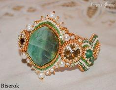 браслет, вышивка бисером, натуральный зеленый агат вены дракона, оплетение кабошона, схема, мастер-класс, МК