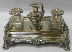antique silver inkstands and inkwells