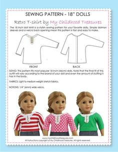 18 inch doll clothes patterns - FREE Retro doll T-shirt pattern (D1308)