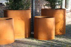 Corten Steel Cylinder Planters