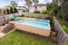 Are you looking for affordable family pools in Brisbane? Call 1300 655 036 today to find out more. Pool House Designs, Swimming Pool Designs, Swimming Pools, Above Ground Pool, In Ground Pools, Geometric Pool, Simple Pool, Small Pool Design, Family Pool