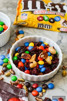 Game Day Trail Mix With Pistachios, Pecans, Cashew Nuts, Dried Cranberries, Dried Cherry, M&m's Candy