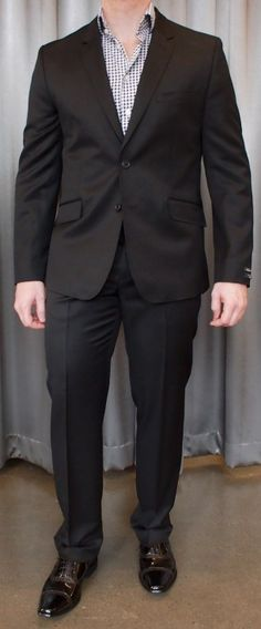 Ted Baker black notch lapel suit $995, with patent leather shoes $295 from Gotstyle Menswear.