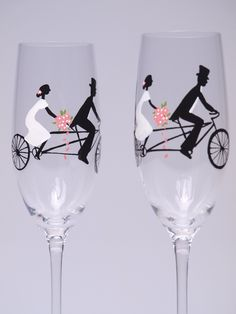 Hand painted Decoration Wedding Toasting Flutes Set of 2 Personalized Champagne glasses Groom and Bride on Vintage Bicycle. $49.00, via Etsy.