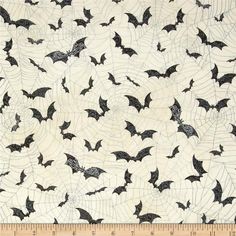 Timeless Treasures Wicked Bats/Webs Cream from @fabricdotcom  Designed by Timeless Treasures, this cotton print fabric is perfect for quilting, apparel and home decor accents. Colors include shades of grey and black on a cream background.