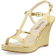 MICHAEL Michael Kors Cicely Wedge Sandal ($82) ❤ liked on Polyvore