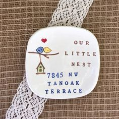 Personalized Housewarming Gift, Our Little Nest Ceramic Gift Dish, New Home…