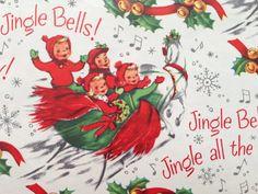 Vintage Wrapping Paper  Dashing Through the by TheGOOSEandTheHOUND,