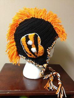 Cincinnati Bengals football mohawk hat with ear flaps in black and orange via Etsy