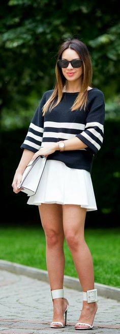 Spring Fashion Arrivals | Stripes sweater , white new age skirt , clutch and heels # pop teens outfits