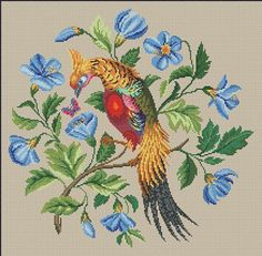 Berlin Woolwork Golden Pheasant Cross Stich and 13 similar items