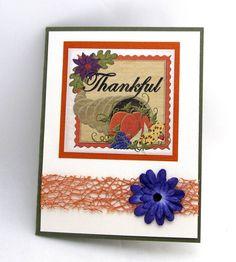 Thankful  Thanksgiving Day Card  Cornucopia  by PrettyByrdDesigns