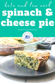 This keto spinach and cheese pie is the perfect make ahead option for breakfast and lunch. It's great for kids lunch boxes and work lunch. Best Keto Breakfast, Breakfast Options, Low Carb Recipes, Diet Recipes, Ketogenic Recipes, Cheese Pies, Low Carbohydrate Diet, Spinach And Cheese, Lunch Boxes