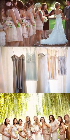 mismatched bridesmaids dresses - sooo doing this! same colour, different dresses