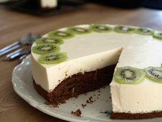 Lemon yogurt cream on chocolate sponge cake