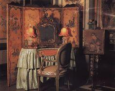 A vanity table in a boudoir in Vizcaya. Wabi Sabi, Rococo, Interior Bohemio, Florida Villas, Miami Florida, Boudoir, William And Mary, Antique Perfume Bottles, Burgundy And Gold