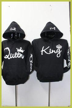 Sudaderas Para Parejas Long Sleeve King Queen Crown Printed Pullover Hoodies Couples Lovers Sweatshirt Men Women Plus Size Hoody