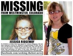 AMBER ALERT: Jessica Ridgeway, missing since 10.5.12 in Colorado. Please repin on your boards w/most followers ~ if it were my baby I would hope someone would repin!!!!