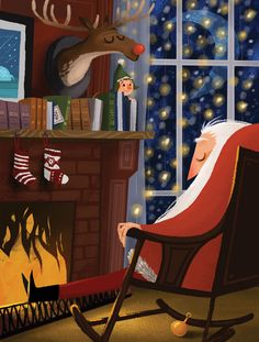 Santa de vacaciones! -- Christmas affairs by Olga Demidova, via Behance